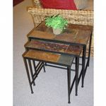 4D Concepts Metal Slate 3 Piece Nesting Tables with Slate Tops 4DC-601609