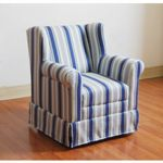 4D Concepts Striped Boys Wingback Chair with Blue Ticking 4DC-K3837-A320