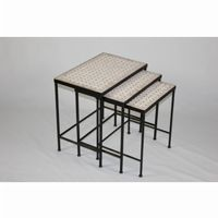 4D Concepts 3 Piece Nesting Tables with Travertine Tops 4DC-605809