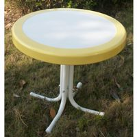 4D Concepts Metal Retro Round Table - Yellow and White Metal 4DC-71120