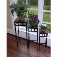 4D Concepts Metal Slate 3 Piece Slate Square Plant Stands with Slate Tops 4DC-601623