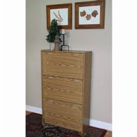 4D Concepts Oak Deluxe Triple Shoe Cabinet 4DC-76153