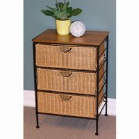 4D Concepts Wicker Metal 3 Drawer Stand 4DC-263069