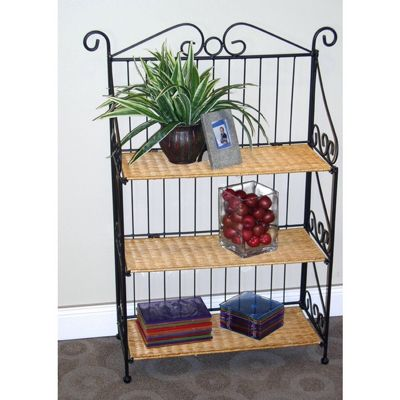 4D Concepts 3 Tier Bookcase - Wicker / Metal 4DC-143014