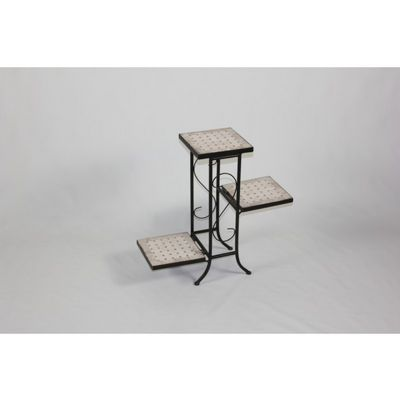 4D Concepts 3 Tier Plant Stand w/ Travertine Top - Black Metal/ Travertine 4DC-605808