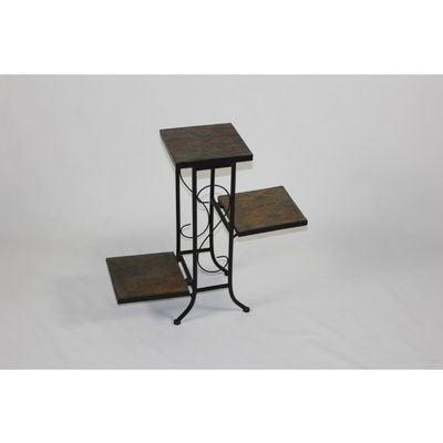 4D Concepts 3 Tier Plant Stand w/ slate top - Black Metal/ slate 4DC-601608