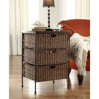 4D Concepts Corn Husk Weave Metal 3 Drawer Stand 4DC-264069