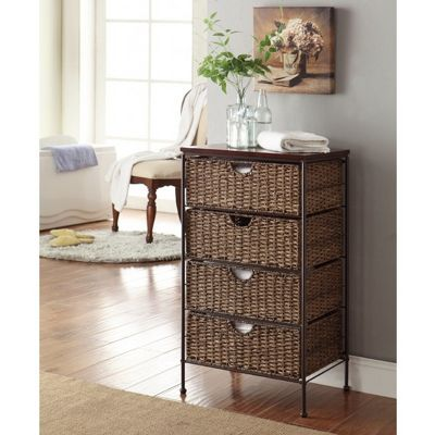 4D Concepts Corn Husk Weave Metal 4 Drawer Stand 4DC-264070