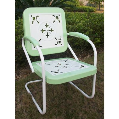 4D Concepts Metal Chair Retro - Lime and White Metal 4DC-71340