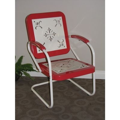 4D Concepts Metal Chair Retro - Red Coral and White Metal 4DC-71540
