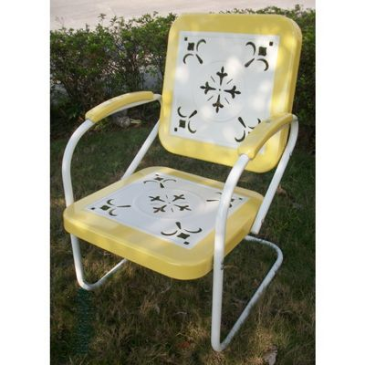 4D Concepts Metal Chair Retro - Yellow and White Metal 4DC-71140