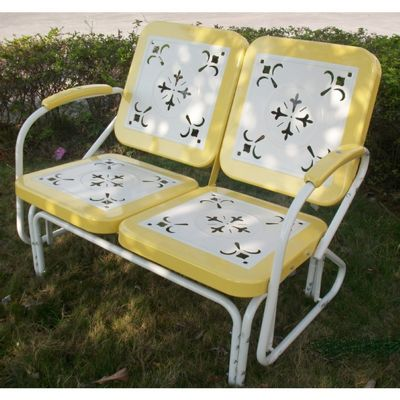 4D Concepts Metal Retro Glider - Yellow and White Metal 4DC-71150