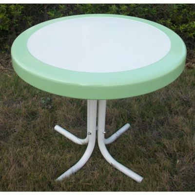 4D Concepts Metal Retro Round Table - Lime and White Metal 4DC-71320