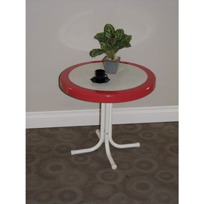 4D Concepts Metal Retro Round Table - Red Coral and White Metal 4DC-71520