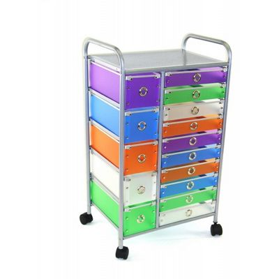 4D Concepts Multi Color Drawers 15 Drawer Rolling Storage 5 Small Drawers 4DC-363023
