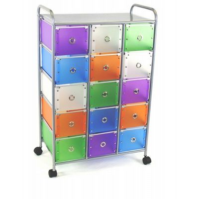 4D Concepts Multi Color Drawers 15 Medium Drawer Rolling Storage 4DC-363025