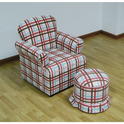 4D Concepts Plaid Rolled Arm Chair with Round Ottoman 4DC-K3186-K3187-A354