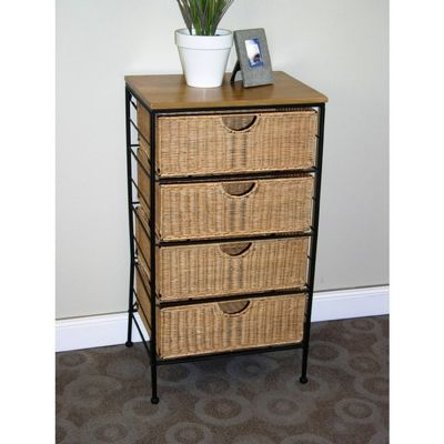 4D Concepts Wicker Metal 4 Drawer Stand 4DC-263070