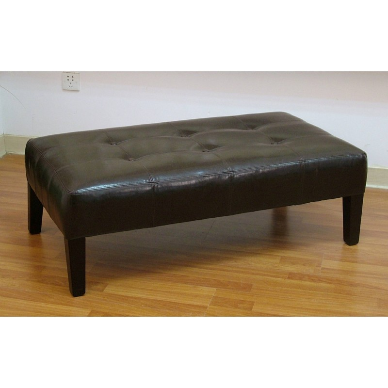 4D Concepts Brown Large Faux Leather Coffee Table