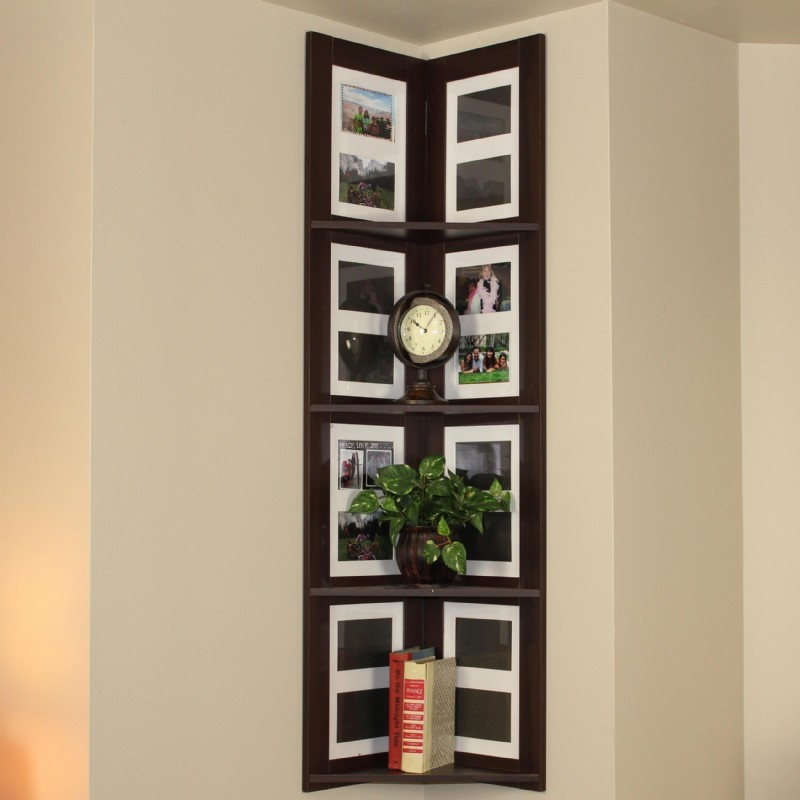 4D Concepts Hanging Corner Picture shelf 4 tier - Espresso