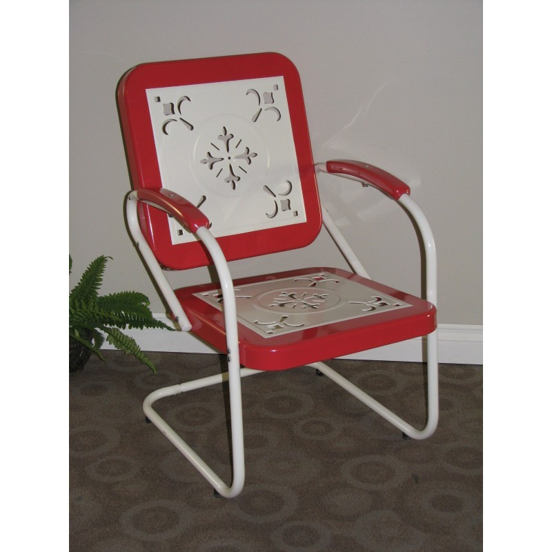 4D Concepts Metal Chair Retro Red Coral and White Metal