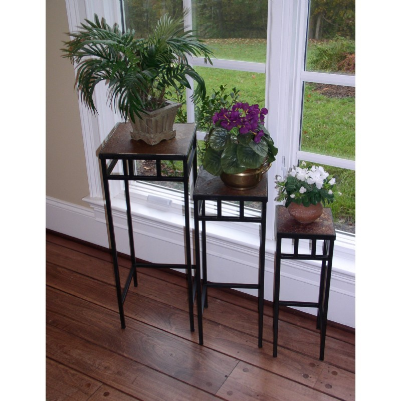 4D Concepts Metal Slate 3 Piece Slate Square Plant Stands with Slate Tops