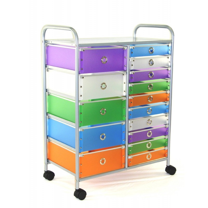 4D Concepts Multi Color Drawers 15 Drawer Rolling Storage