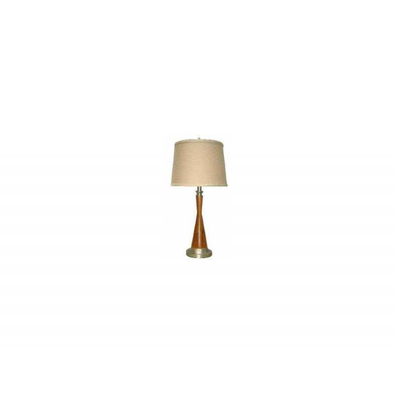 4D Concepts Shelby Table Lamp - Pewter and Oak