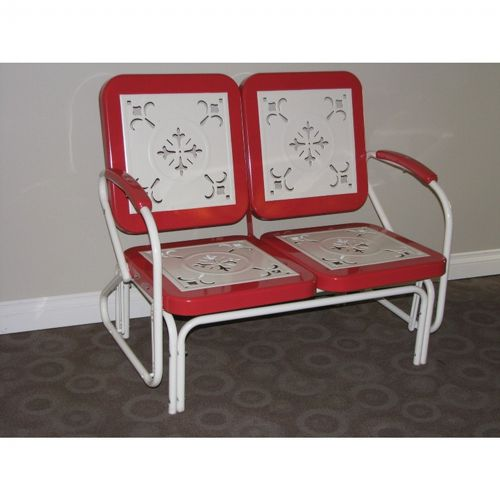 4D Concepts Metal Retro Glider - Red Coral and White Metal 4DC-71550