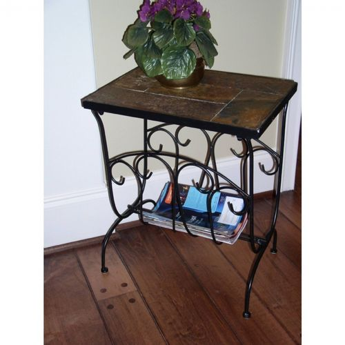 4D Concepts Metal Slate Magazine End Table with Slate Top 4DC-601613