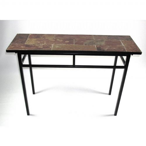 4D Concepts Metal Slate Sofa Table with Slate Top 4DC-601636