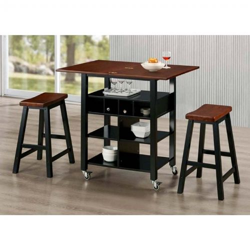 Cool 4D Concepts Phoenix Kitchen Island With 2 Stools Mahogany Black Pabps2019 Chair Design Images Pabps2019Com
