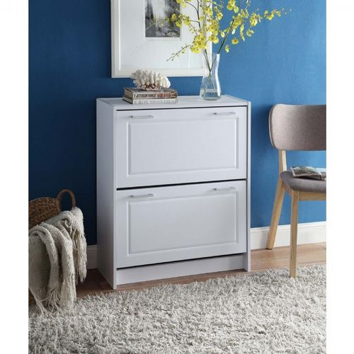 4D Concepts White Deluxe Double Shoe Cabinet 4DC-76455