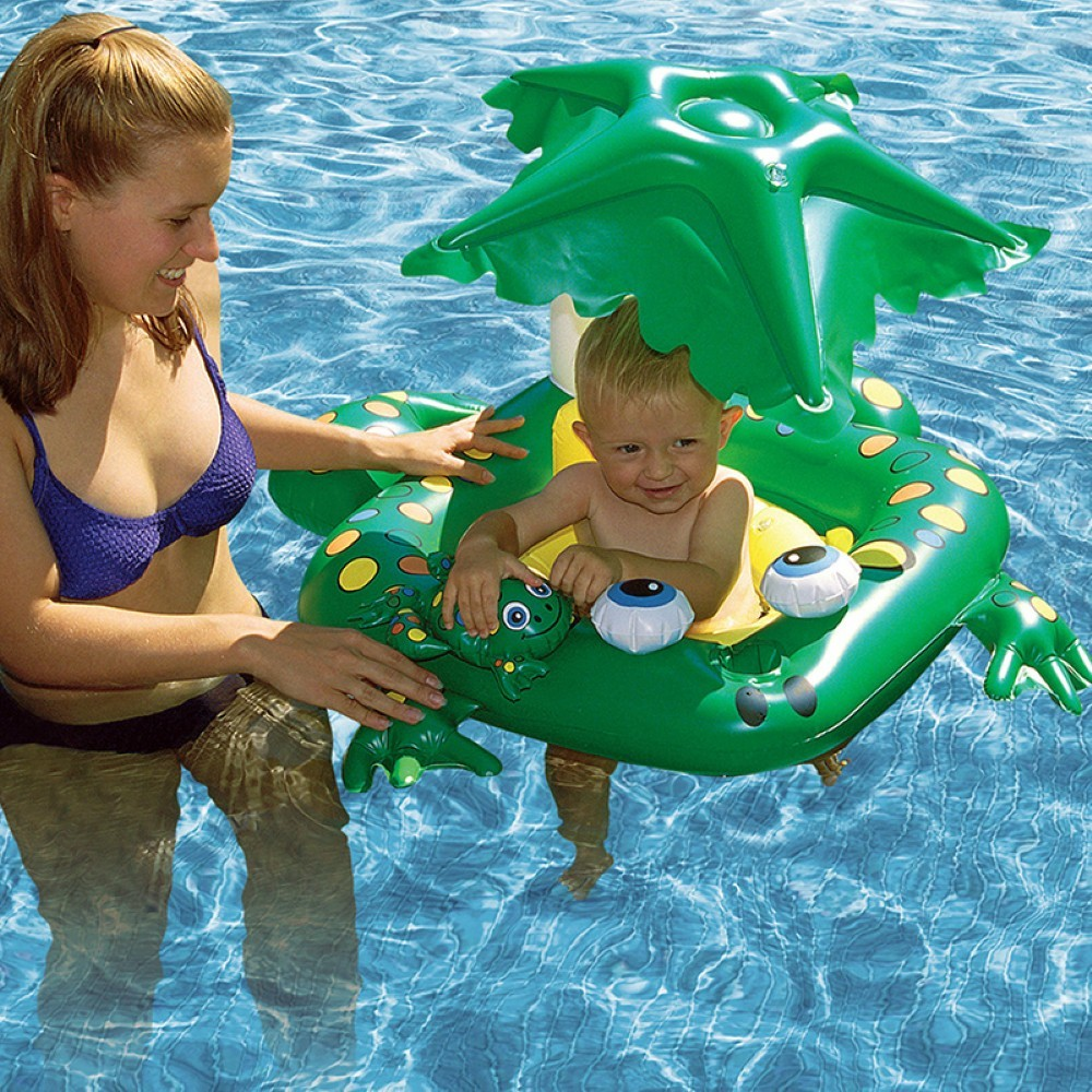 Inflatable Baby Pool Floats, Seats: Baby Seat Frog Pool Float with Shade