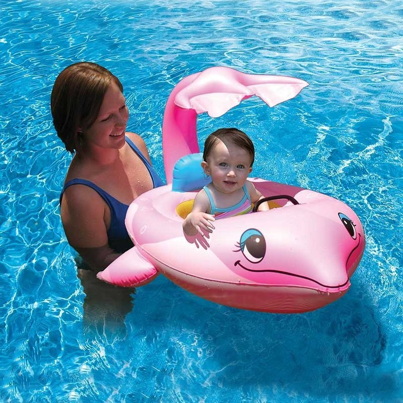 Pink Dolphin Baby Pool Float