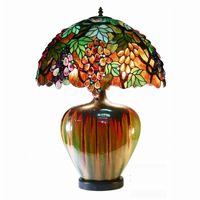 Tiffany Style Grape Lamp With Ceramic Base 2562-PB07