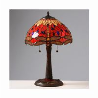 Tiffany Style Red Dragonfly Lamp with Mosaic Base T14288TGRA