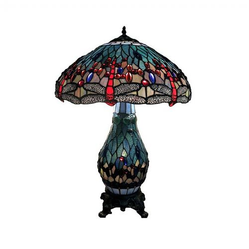 Tiffany Style Dragonfly Double Lit Table Lamp