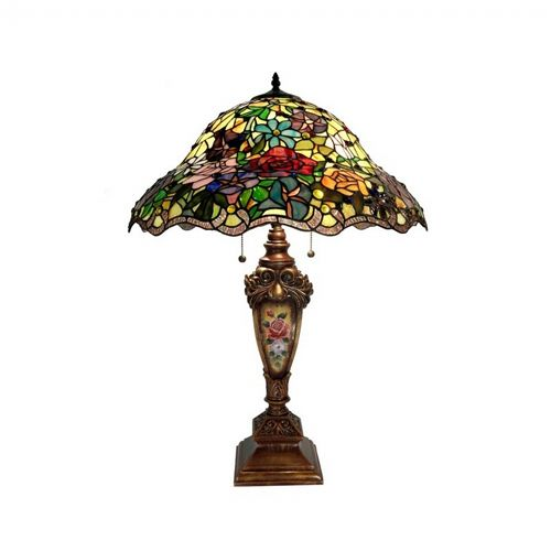 Tiffany Style Kristine Table Lamp With Painted Base 2115-BB553