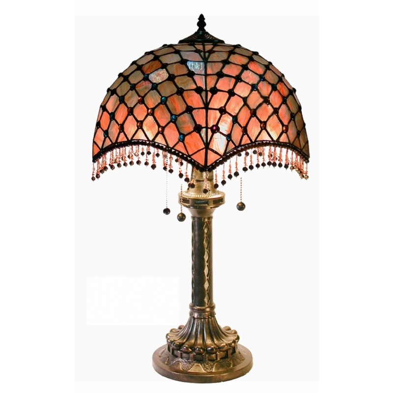 Tiffany Style Amber Beaded Table Lamp
