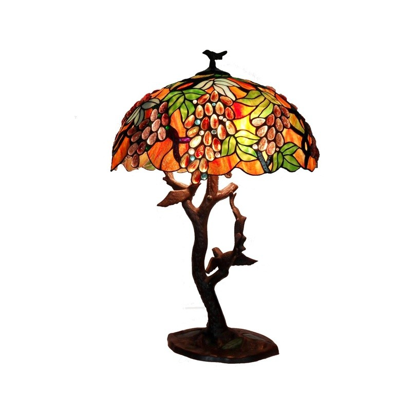 Tiffany Style Grape Lamp with Birds and Mozaic Base