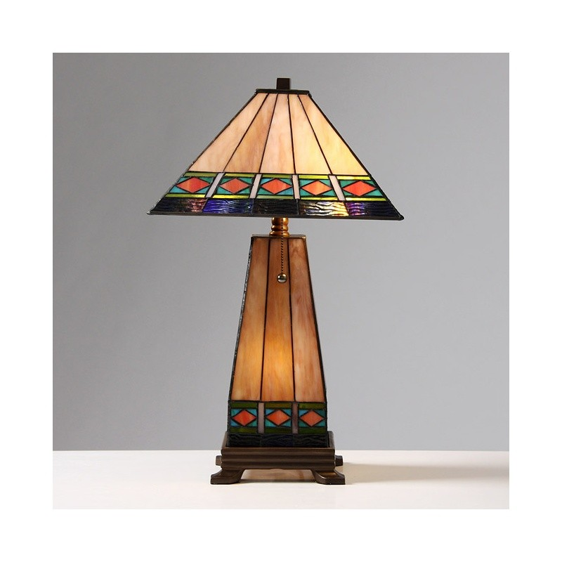 tiffany style mission style lighted base table lamp. Black Bedroom Furniture Sets. Home Design Ideas