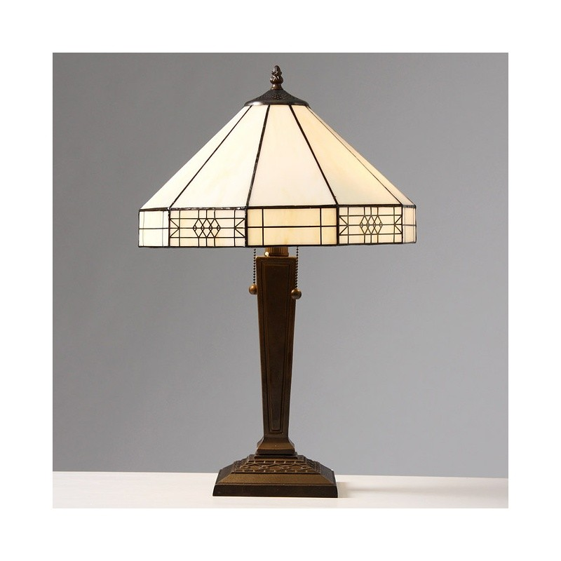 tiffany style mission table lamp. Black Bedroom Furniture Sets. Home Design Ideas