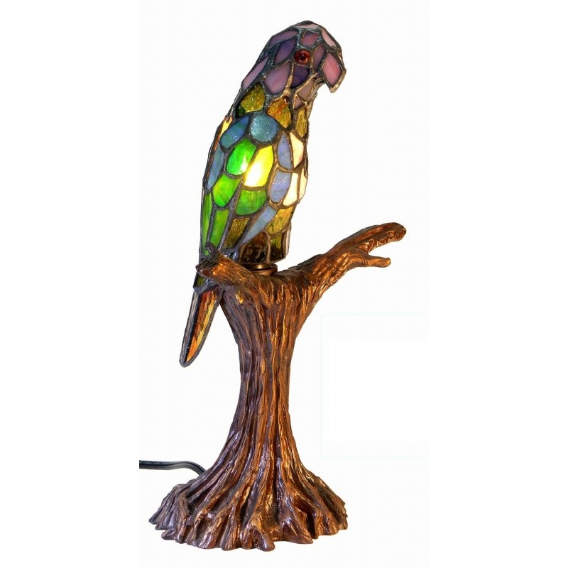 Lighting: Buffet Lighting: Tiffany Style Parrot Accent Lamp