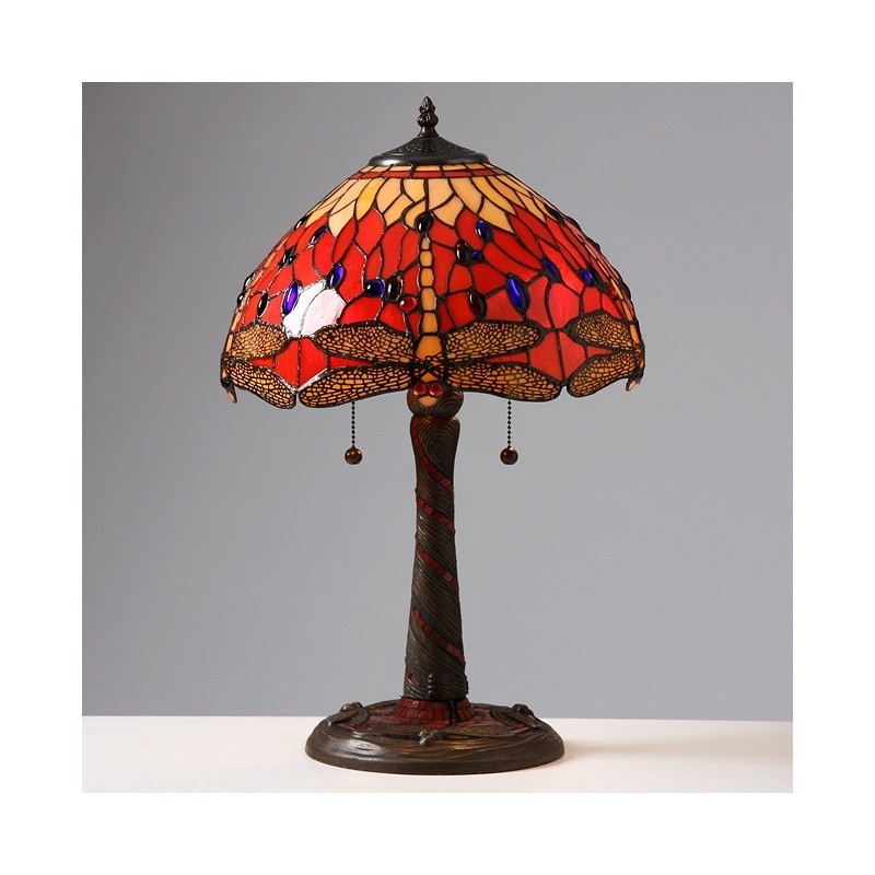 Tiffany Style Red Dragonfly Lamp with Mosaic Base