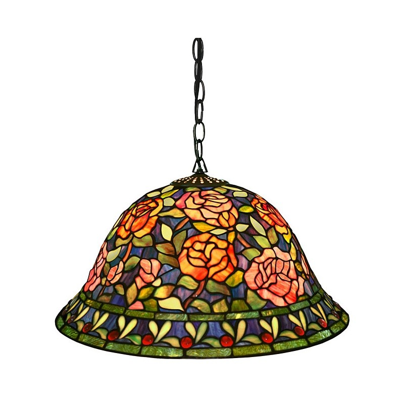 Tiffany Style Southern Belle Rose Hanging Lamp