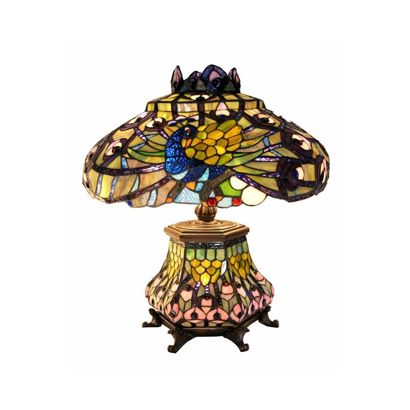 Tiffany-style Peacock Lantern Table Lamp