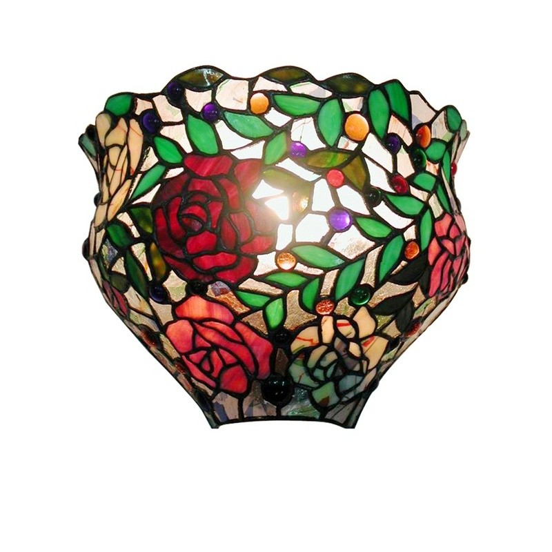 Tiffany-style Red Rose Wall Sconce