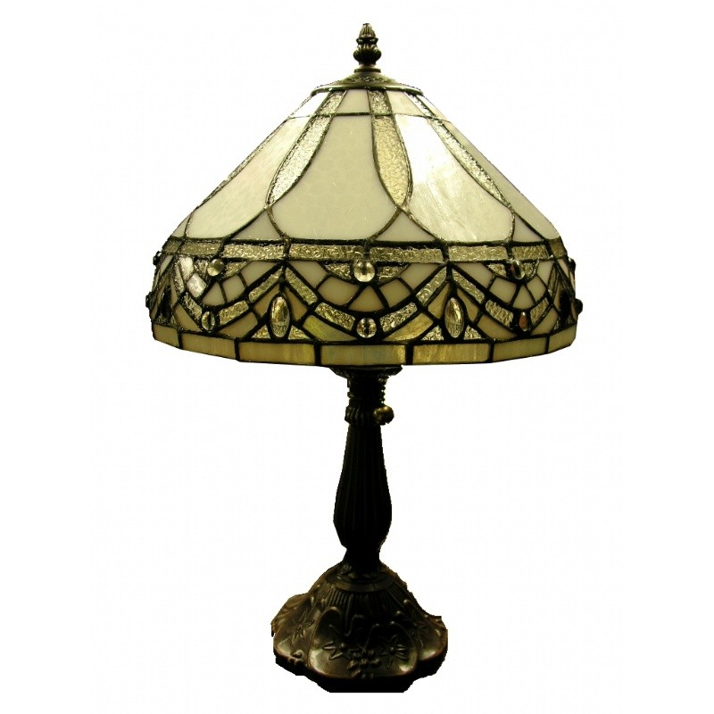 Tiffany-style White Jewels Table Lamp