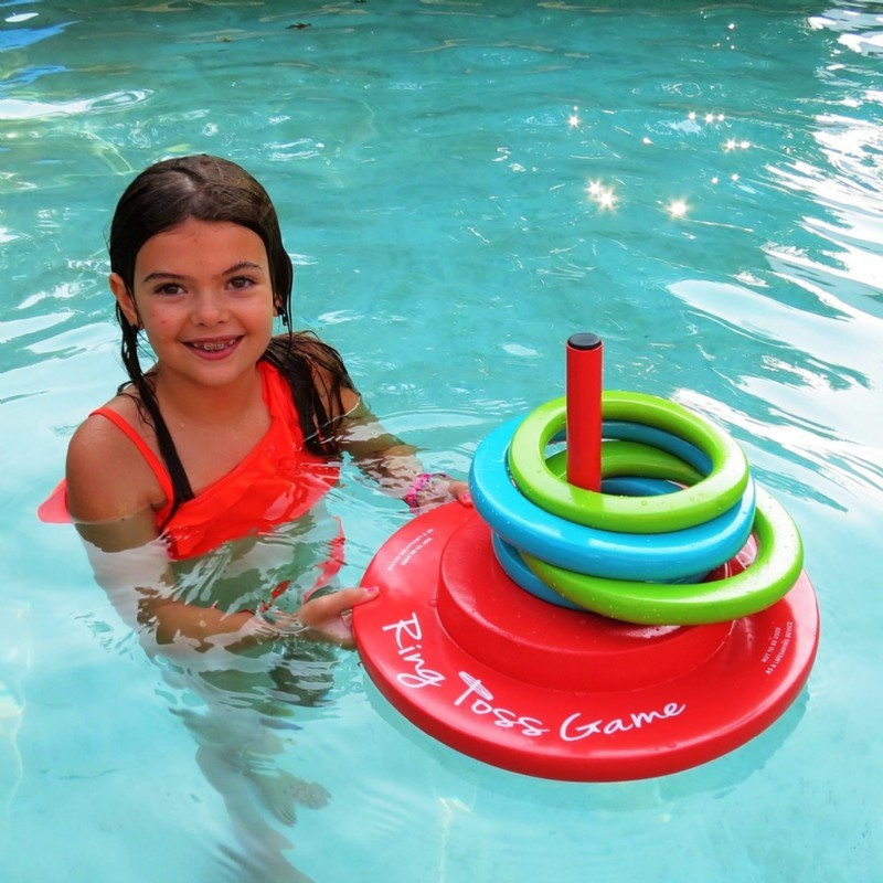 Mechanical or Toy Alligator for Swimming Pool: Ring Toss Floating Pool Game
